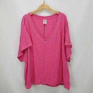 We The Free Oversized V-Neck Cotton/Rayon T-Shirt